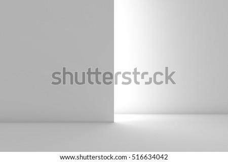 Empty White backdrop. Fashion podium. Background concept. 3d render