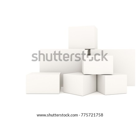 Empty white boxes stacked on white background. Put the picture on the white box to promote the product. 3D Rendering #775721758