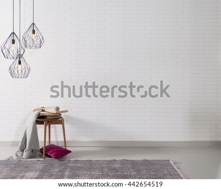 empty white brick wall  and lamp with rug living room concept #442654519