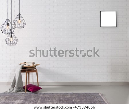 empty white brick wall and lamp with rug living room concept and frame #473394856