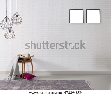empty white brick wall and lamp with rug living room concept and frame #473394859