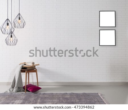 empty white brick wall and lamp with rug living room concept and frame #473394862