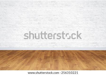 Empty white bricks room with wooden floor