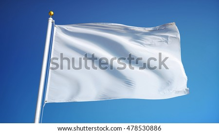 Empty white clear flag waving against clean blue sky, close up, isolated with clipping path mask alpha channel transparency #478530886