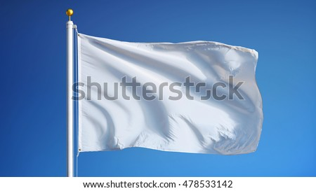 Empty white clear flag waving against clean blue sky, close up, isolated with clipping path mask alpha channel transparency