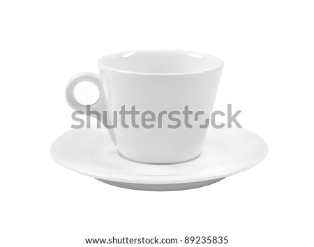 Empty white coffee cup and saucer isolated against white background