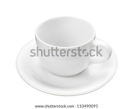 Empty White coffee cup isolated on a white background + Clipping Path