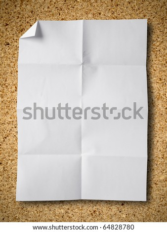 Empty white Crumpled paper on Particle board background