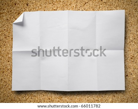 Empty white Crumpled paper on Particle board background horizontal