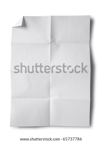 Empty white Crumpled paper on white background vertical