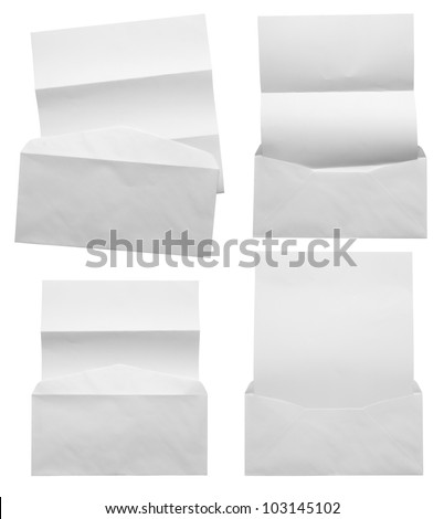 Empty white Crumpled paper with blank envelope (Save Paths) for design work #103145102