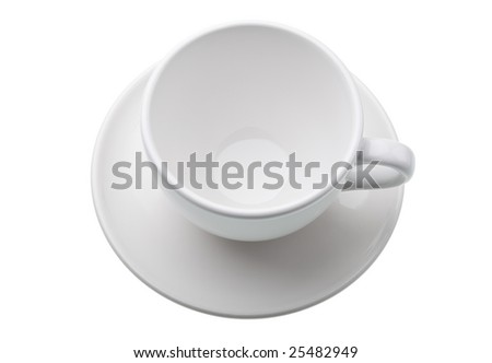 Empty white cup and saucer isolated against white background