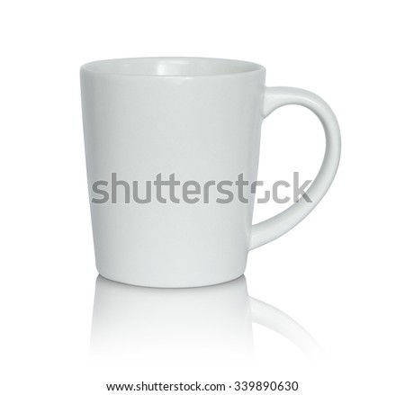 empty white cup isolated on...