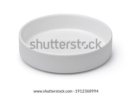 Empty white cylindrical ceramic bowl isolated on white Stock photo ©