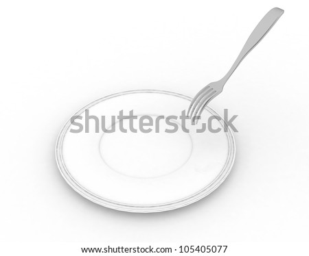 empty white dish with a pricking fork
