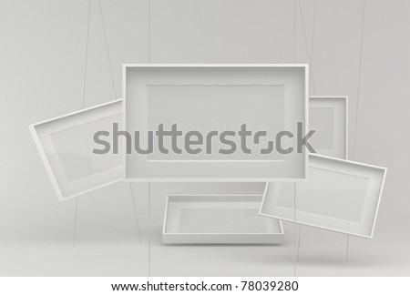 Empty white frames - stock photo