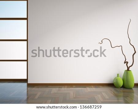 empty white interior with vases