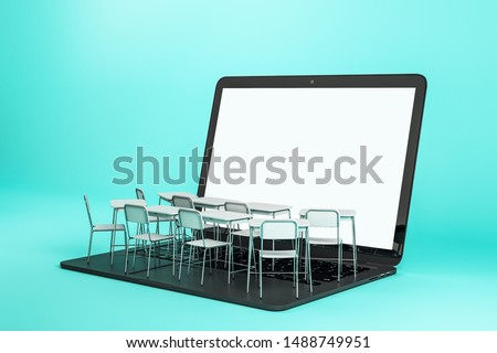 Empty white laptop with abstract tiny classroom desktops on blue background. Online education and webinar concept. Mock up, 3D Rendering