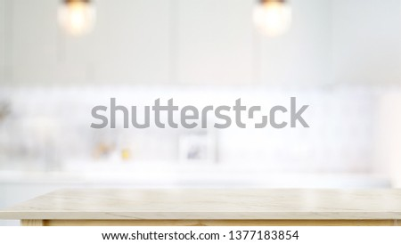 Empty white marble top table in modern kitchen room background. For product or food montage #1377183854