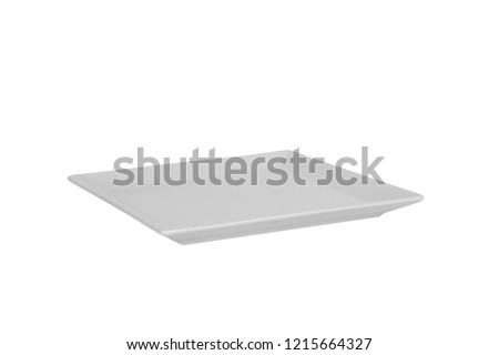 Empty white matte rectangular plate isolated on white background. perspective view.