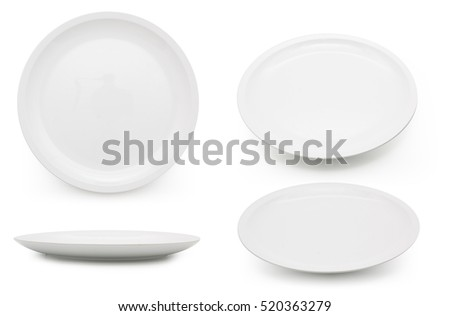 empty white plate on the white background