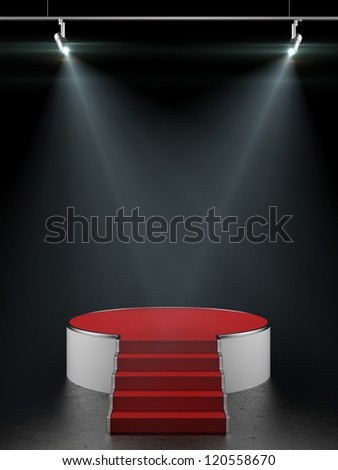 Empty white podium isolated on black