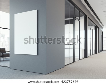 Empty white poster on the office gray wall. 3d rendering