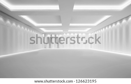 Empty White Room - 3d illustration