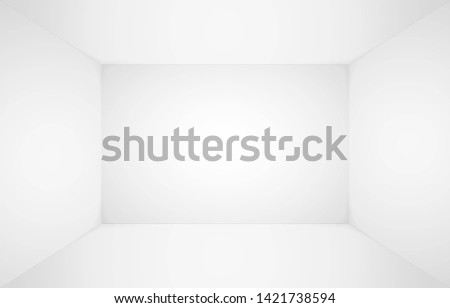Empty white room. Empty blank room, wall and floor interior background. Abstract 3d interior. Template for you design.