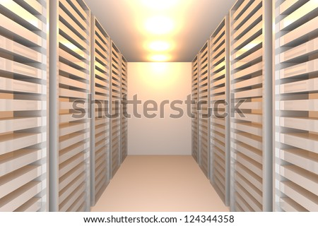 Empty white room for modern interior of server room in datacenter