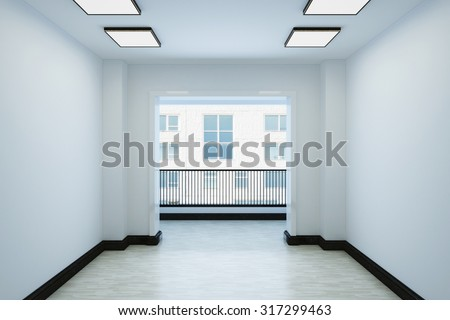 Empty white room with a balcony and interior decoration. The room contains lamps and plinth. 3d illustration.