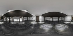 empty white room with black mansard and floor without furniture. full spherical hdri panorama 360 degrees in interior room in modern apartments,  office or clinic in equirectangular projection