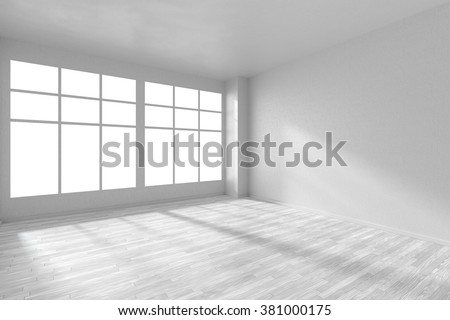 stock photo empty white room with hardwood parquet floor big window and walls with textured wallpaper and 381000175 - Каталог - 3d фотообои