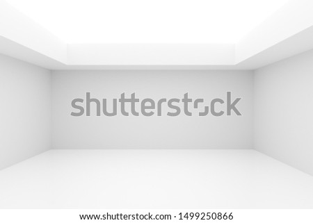 Empty white room with indirect lighting from the ceiling- gallery, product or modern interior template, 3D illustration