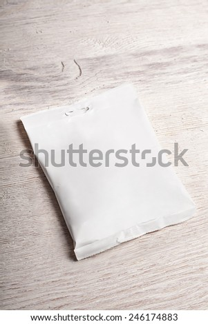 Empty white snack food package mockup