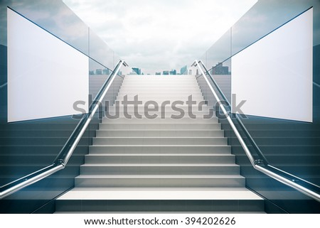 Empty white stairs in pedestrian subway with dull sky. 3D Render #394202626