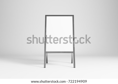 Empty white street stand on light background with shadow. Advertising concept. Mock up, 3D Rendering
