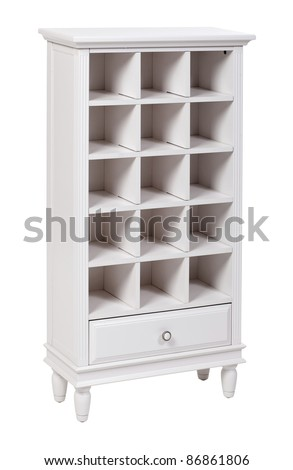 Empty white wooden bookcase (shelving unit), with clipping path