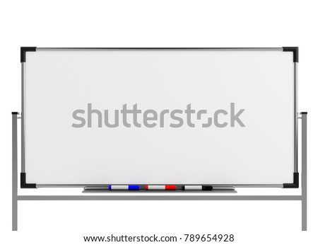 Empty whiteboard (magnetic board) isolated on white. Mockup template - 3D rendering