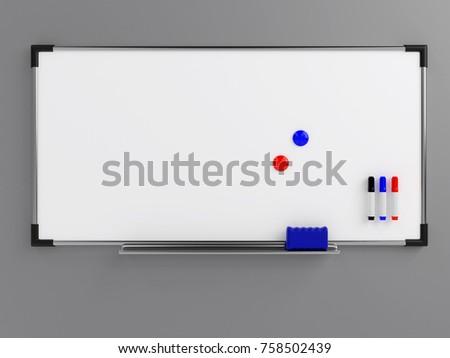 Empty whiteboard (magnetic board) on gray wall. Mockup template - 3D rendering