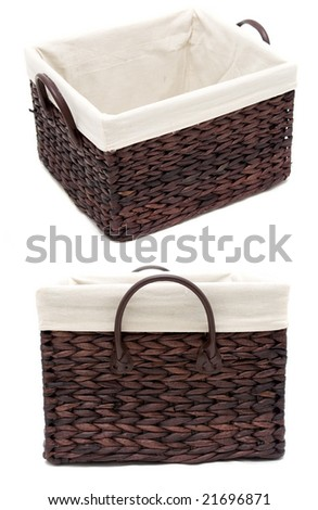 empty wicker basket from two angles - stock photo