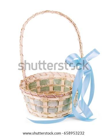 Empty wicker basket isolated on white Stock fotó ©