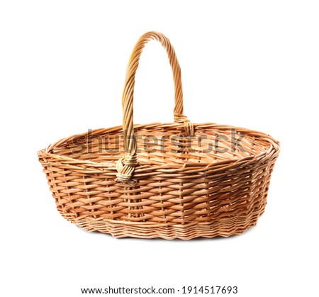 Empty wicker basket isolated on white. Easter item Stockfoto ©
