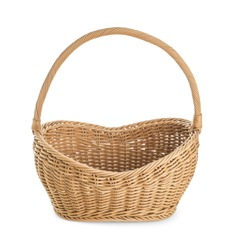 Empty wicker picnic basket on white background
