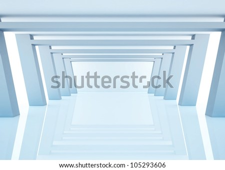 empty wide hall with columns - 3d illustration