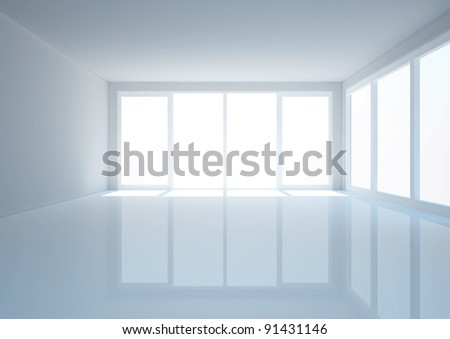 empty wide hall with french windows, entrance hall interior - 3d illustration