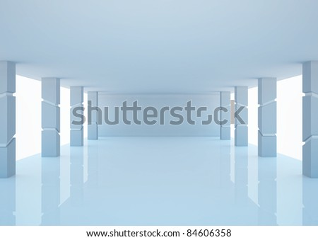 empty wide hall with futuristic columns - 3d illustration