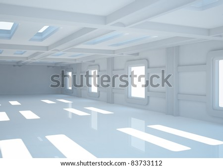 empty wide room with balks and narrow openings - 3d illustration