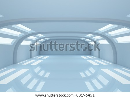 empty wide room with balks and narrow openings, warehouse space - 3d illustration
