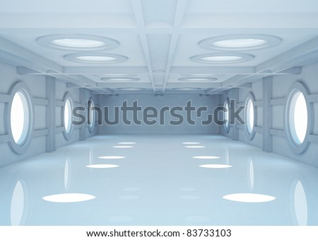 empty wide room with balks and round skylights - 3d illustration